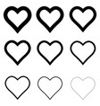 set heart shape icons symbol love and vector image