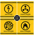 set of yellow grunge danger banners vector image vector image