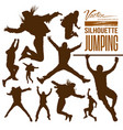 Silhouette people jumping vector image vector image
