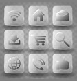 square application transparent glass buttons or vector image