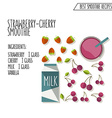 strawberry cherry smoothie recipe hand dr vector image
