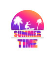summer time banner with palm trees and a surfer vector image vector image