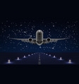 take off airplane in night sky end dark runway vector image