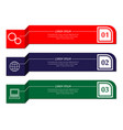 three banners of different colors vector image vector image