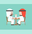 two arab businessman arm wresting business vector image
