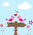 Two pink birds in love vector image vector image