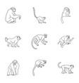 wild monkey icon set outline style