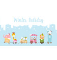 winter holiday calligraphy text with animal vector image