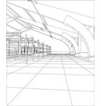 wire-frame industrial building indoor on the white vector image