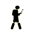 young guy going forward and holding a cell phone vector image