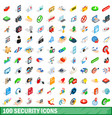 100 security icons set isometric 3d style vector image