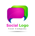 Colorful 3d Volume Logo Design Speech bubble icon vector image