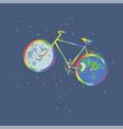 rainbow bike one wheel planet earth another wheel vector image