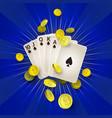 flat royal flush in spades golden coins vector image