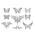 abstract butterflies symmetrical tattoos vector image vector image
