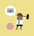 african businessman try to brake piggy bank vector image vector image