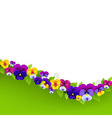 Background With Pansies And Leaf vector image vector image