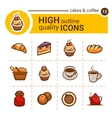 bakery color icons vector image vector image