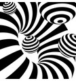 black and white abstract stripes optical ilusion vector image vector image