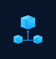 Blue 3d cube blockchain icon - block chain vector image