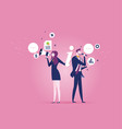 business team shouting in megaphone concept vector image vector image