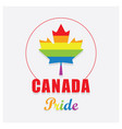 canada pride maple leaf emblem icon on off white vector image vector image