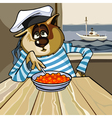 cartoon cat sailor with a plate of caviar vector image vector image