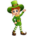 cartoon girl leprechaun waving vector image vector image