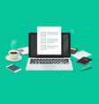 checklist document in laptop and working desk vector image vector image