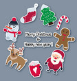 christmas and new year stickers made paper vector image vector image