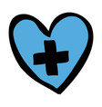 color hand drawn silhouette of blue heart with vector image vector image