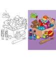 Coloring Book Of Box With Different Toys vector image