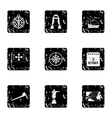 Columbus Day icons set grunge style vector image vector image