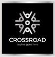 crossroad logotype wheel community arrow vector image