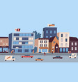 daily big city life with buildings citizens vector image