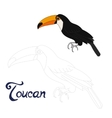 Educational game connect dots to draw toucan bird vector image vector image