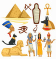 egypt symbols traveling pyramids and sphinx vector image