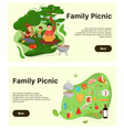 family picnic web banner template set vector image