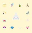 flat icons fizz sandal calendar elements vector image vector image