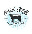 fresh milk from the farm vector image vector image