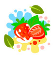 fresh strawberry on color abstract background vector image vector image