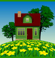 green realistic house in the summer landscape vector image vector image
