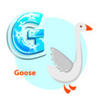 letter g for goose cartoon alphabet for children vector image