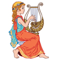 little girl playing lyre vector image vector image