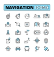 Map navigation outlined icons set vector image vector image