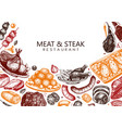 meat and steak design hand drawn food meat vector image