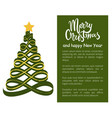 merry christmas and happy new year poster tree vector image vector image