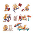monkey office worker set with overworked and vector image vector image