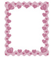 pink zig zag frame border with red pink hearts and vector image vector image