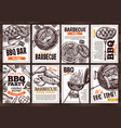 posters with grilled food for barbecue vector image